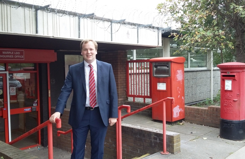 William Wragg MP, outside Marple Delivery Office