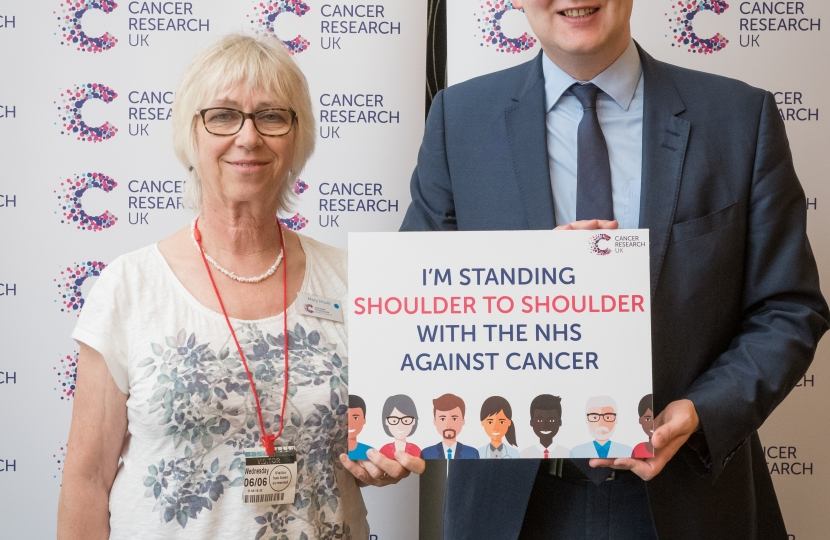 William Wragg With Mary from Mellor- a dedicated Cancer Research UK ambassador